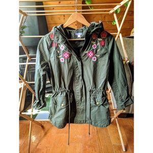 Xhilaration Army Green Embroidered Utility Jacket
